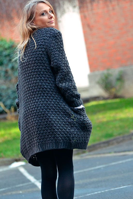 Tricot gilet grosse maille